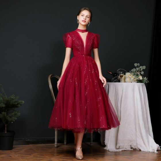 Vintage / Retro Burgundy Dancing Prom Dresses 2020 A-Line / Princess See-through High Neck Puffy Short Sleeve Beading Sequins Sash Tea-length Ruffle Backless Formal Dresses