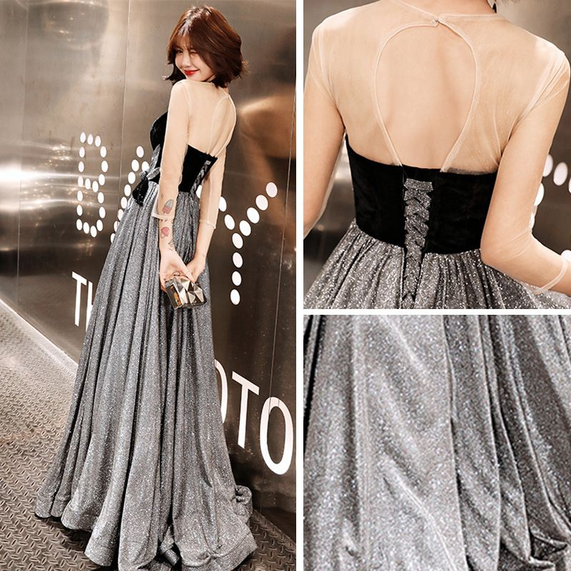 Bling Bling Grey See-through Evening Dresses  2019 A-Line / Princess Scoop Neck 3/4 Sleeve Backless Glitter Polyester Floor-Length / Long Ruffle Formal Dresses