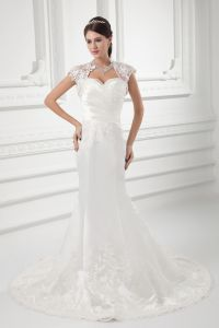 Satin Applique Beading Sweetheart Court Train Mermaid Wedding Dress