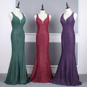 Affordable Evening Dresses  2020 Trumpet / Mermaid Shoulders Sleeveless Glitter Polyester Floor-Length / Long Ruffle Backless Formal Dresses