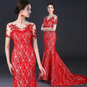 Chinesischer Stil Rot Durchsichtige Abendkleider 2018 Mermaid Rundhalsausschnitt Kurze Ärmel Pailletten Perlenstickerei Hof-Schleppe Rückenfreies Festliche Kleider