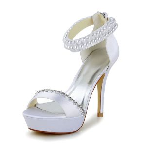 Fashion White Bridal Shoes Satin Stilettos Platform Sandals With Pearl Ankle Strap