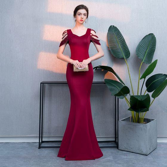 Chic / Beautiful Burgundy Evening Dresses  2019 Trumpet / Mermaid Crystal V-Neck Sleeveless Backless Floor-Length / Long Formal Dresses