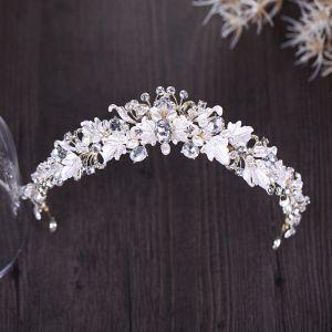 Unique Blatt Silber Diadem 2018 Metall Kristall Perle Strass Brautaccessoires