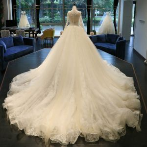 Classic Chic / Beautiful Hall Church Wedding Dresses 2017 Lace Appliques Backless Scoop Neck Long Sleeve Cathedral Train White Ball Gown