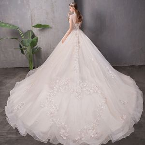 Chic / Beautiful Champagne Wedding Dresses 2019 A-Line / Princess High Neck Appliques Lace Flower Beading Pearl Sequins Cap Sleeves Backless Cathedral Train