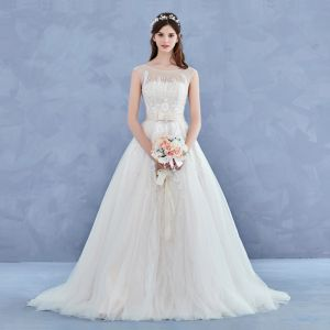 Elegant Handmade  Champagne Wedding Dresses 2017 A-Line / Princess Scoop Neck Sleeveless Appliques Flower Lace Backless Beading Rhinestone Court Train