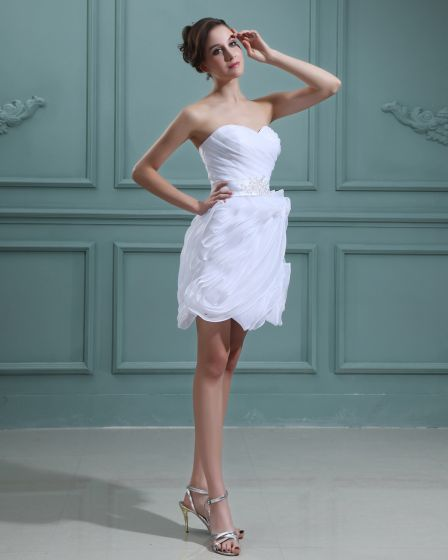 Taffeta Sleeveless Ruffles Sweetheart Short Mini Wedding Dresses