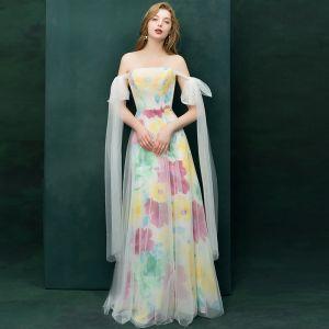 Farbig Multifarben Abendkleider 2019 A Linie Off Shoulder Kurze Ärmel Drucken Blumen Lange Rüschen Rückenfreies Festliche Kleider