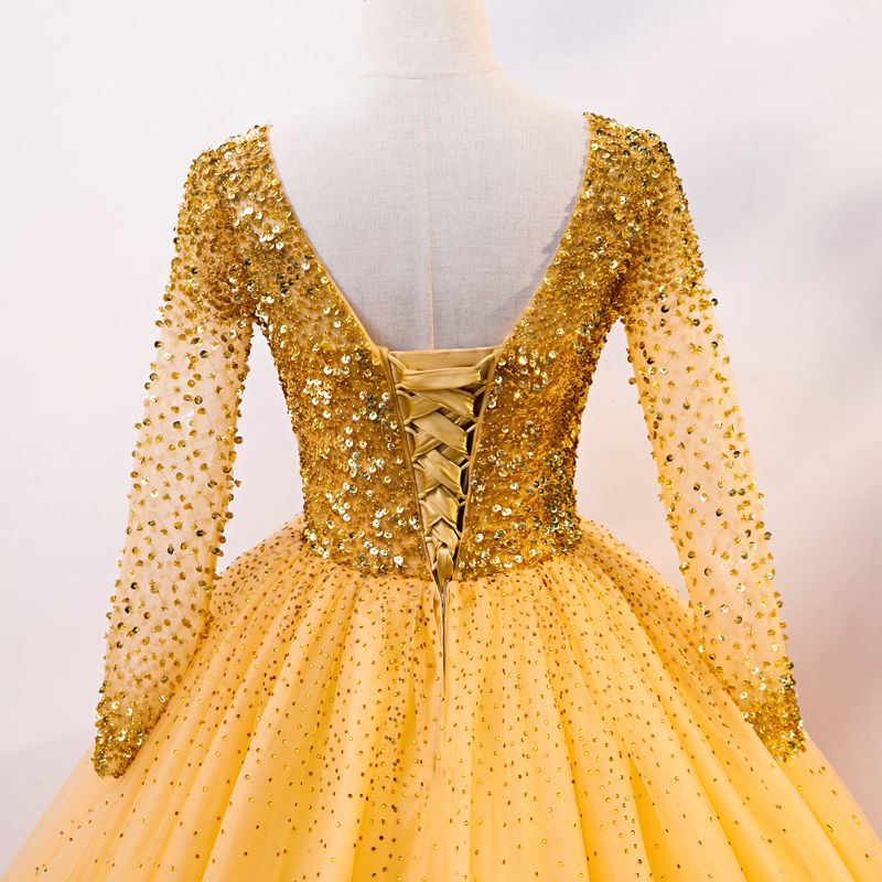Luxury / Gorgeous Gold Prom Dresses 2020 Ball Gown Scoop Neck Long Sleeve Sequins Beading Rhinestone Floor-Length / Long Ruffle Backless Formal Dresses