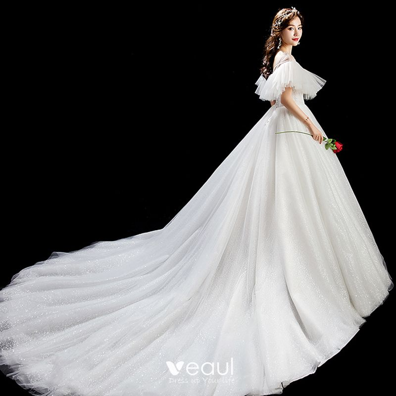 Chic / Beautiful Ivory Wedding Dresses 2019 Ball Gown Scoop Neck Sequins Backless Short Sleeve Chapel Train