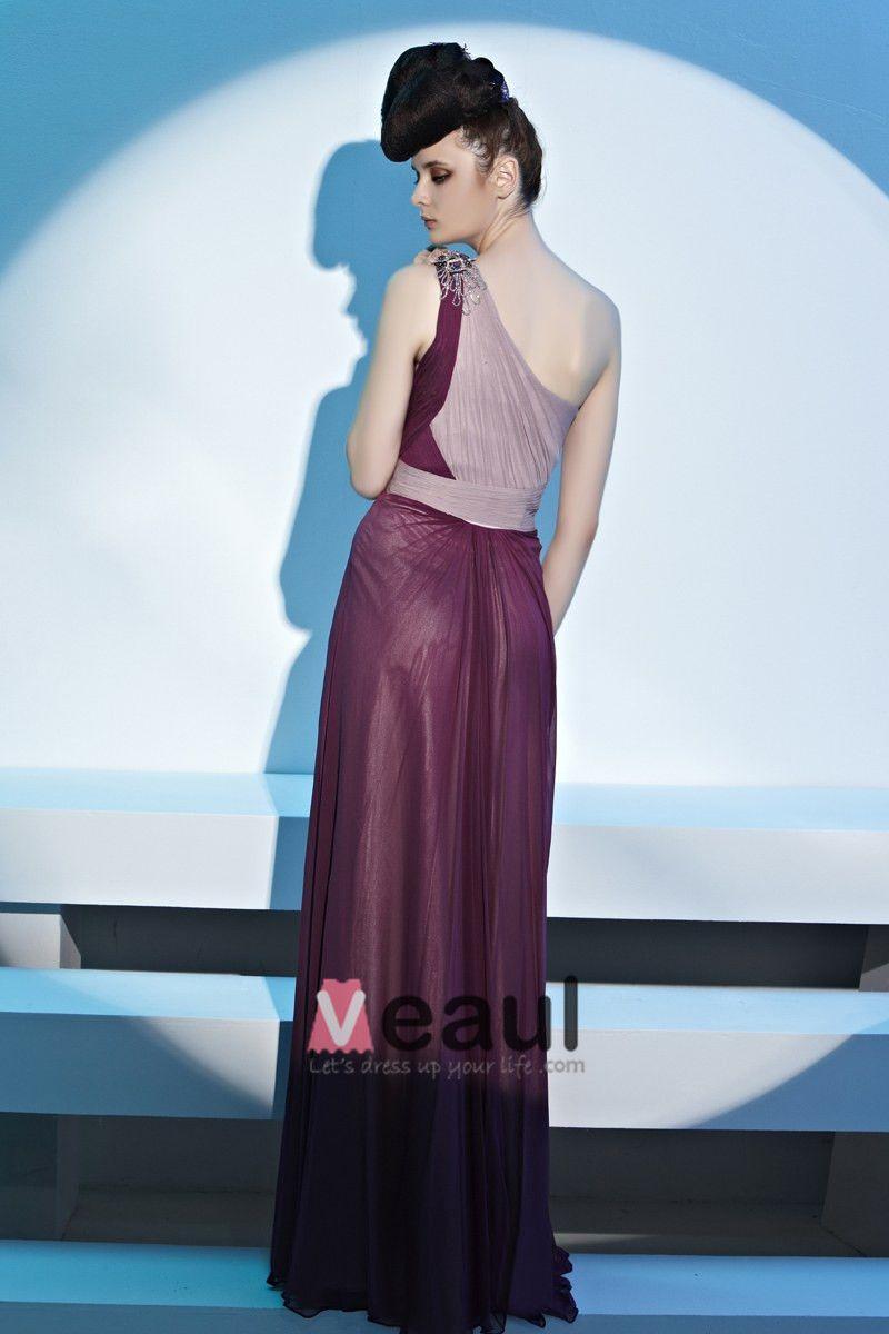 Einen Schulter Plissierte Perlen Bodenlangen Abendkleid Frau Georgette
