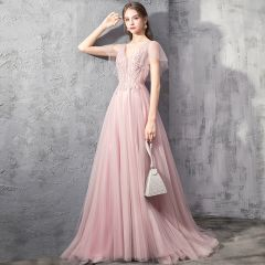 Elegant Pearl Pink Evening Dresses  2019 A-Line / Princess Deep V-Neck Short Sleeve Appliques Lace Beading Sweep Train Ruffle Backless Formal Dresses