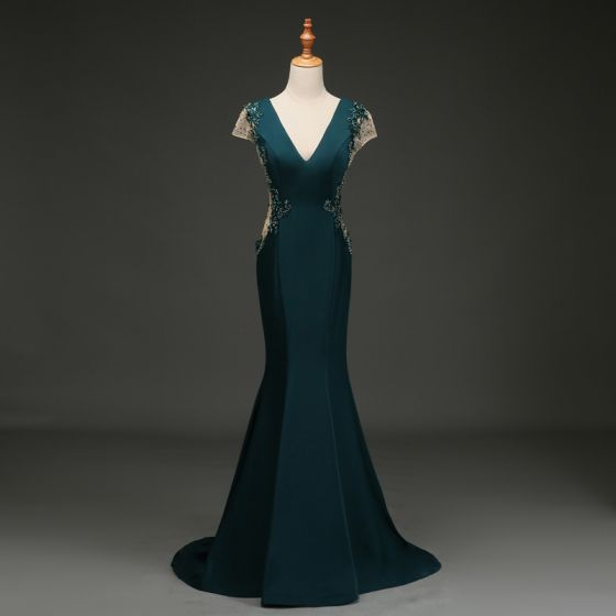 Elegant Dark Green Evening Dresses  2019 Trumpet / Mermaid V-Neck Beading Sequins Rhinestone Lace Flower Cap Sleeves Backless Sweep Train Formal Dresses