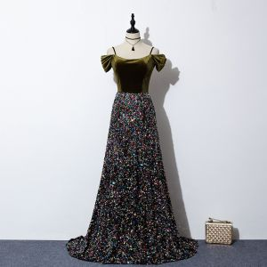 Sparkly Multi-Colors Sequins Evening Dresses  2020 A-Line / Princess Spaghetti Straps Short Sleeve Sweep Train Ruffle Backless Suede Formal Dresses