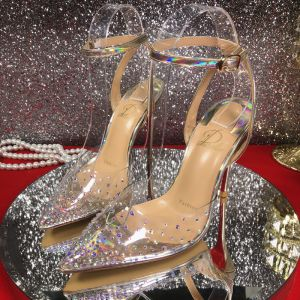 Seksowne Srebrny Koktajlowe Laser Sandały Damskie 2020 10 cm Szpilki Rhinestone Z Paskiem Szpiczaste Sandały