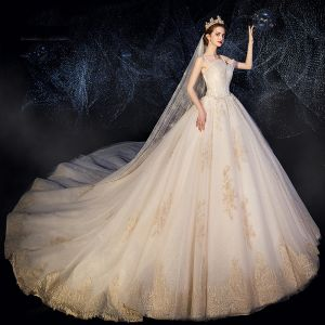 High-end Champagne Wedding Dresses 2019 A-Line / Princess Spaghetti Straps Ruffle Beading Sequins Lace Flower Sleeveless Backless Chapel Train