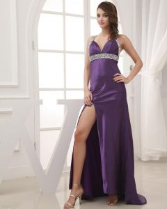 Elegant Halter Neckline Floor Length Sleeveless Beading Silk Woman Prom Dress