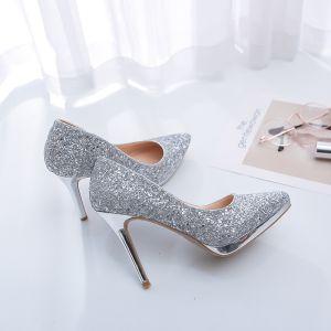 Glitter Zilveren Bruidsschoenen 2019 Leer Pailletten 12 cm Naaldhakken / Stiletto Spitse Neus Huwelijk Pumps