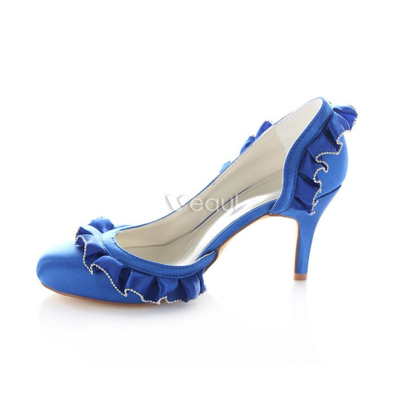Classic Blue Satin Wedding Shoes 3 inch High Heels Stiletto Pumps