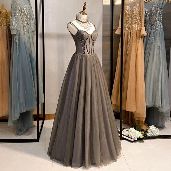 Chic / Beautiful Grey Evening Dresses  2020 A-Line / Princess Spaghetti Straps Beading Tassel Crystal Sleeveless Backless Floor-Length / Long Formal Dresses