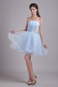 2015 Comely Satin Tulle Sky Blue A-line Cocktail Dress