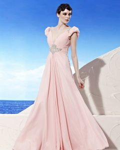 V Neck Beading Puff Short Sleeve Backless Floor Length Chiffon Woman Evening Dresses