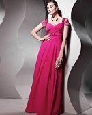 Beaded Sequin Tulle Charmeuse Chiffon V Neck Floor Length Evening Dresses