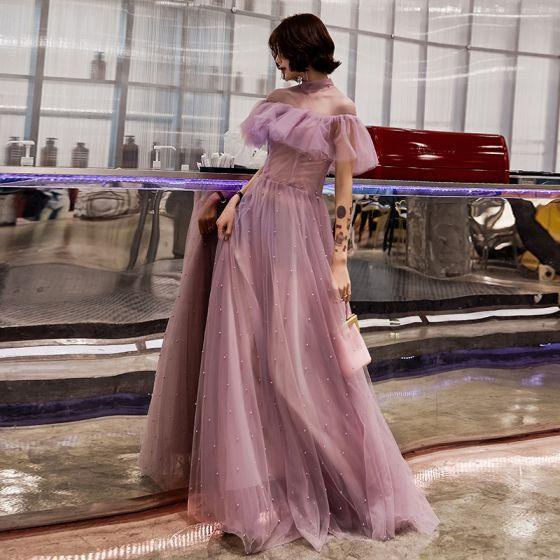 Schöne Rosa Abendkleider 2019 A Linie Rundhalsausschnitt Perle Kurze Ärmel Rückenfreies Rüschen Lange Festliche Kleider
