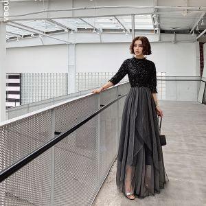 Mode Schwarz Abendkleider 2019 A Linie Pailletten Stehkragen 1/2 Ärmel Rückenfreies Lange Festliche Kleider