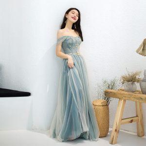 Encantador Verde Salvia Vestidos de noche 2019 A-Line / Princess Fuera Del Hombro Rebordear Crystal Rhinestone Cinturón Sin Mangas Sin Espalda Largos Vestidos Formales