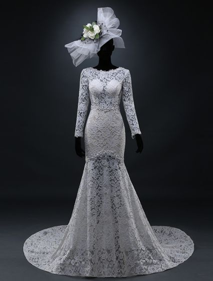 2015 A-line Square Neckline Pierced Backless Lace Wedding Dress