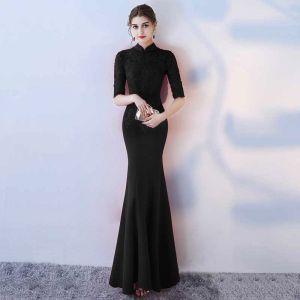 Chinesischer Stil Schwarz Abendkleider 2017 Mermaid Stehkragen 1/2 Ärmel Applikationen Mit Spitze Lange Rüschen Rückenfreies Festliche Kleider