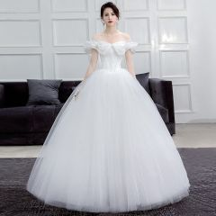 Affordable Ivory Corset Wedding Dresses 2019 Ball Gown Off-The-Shoulder Short Sleeve Backless Floor-Length / Long Ruffle