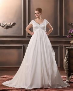 Yarn Beading V Neck Court Plus Size Bridal Gown Wedding Dress