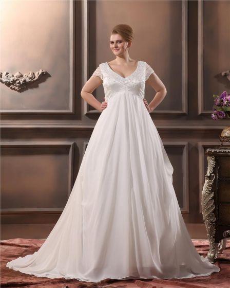 Yarn Beading V Neck Court Plus Size Bridal Gown Wedding Dress