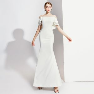 Elegant Ivory Evening Dresses  2020 Trumpet / Mermaid Spaghetti Straps Short Sleeve Backless Floor-Length / Long Formal Dresses
