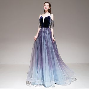 Elegant Purple Gradient-Color Evening Dresses  2020 A-Line / Princess Spaghetti Straps Short Sleeve Beading Tassel Glitter Tulle Floor-Length / Long Ruffle Backless Formal Dresses