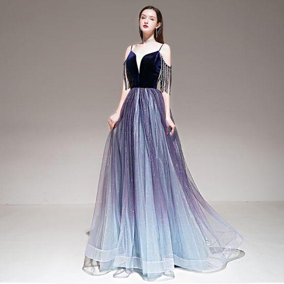Elegant Purple Gradient-Color Evening Dresses  2020 A-Line / Princess Spaghetti Straps Short Sleeve Beading Tassel Glitter Tulle Floor-Length / Long Ruffle Backless Formal Dresses
