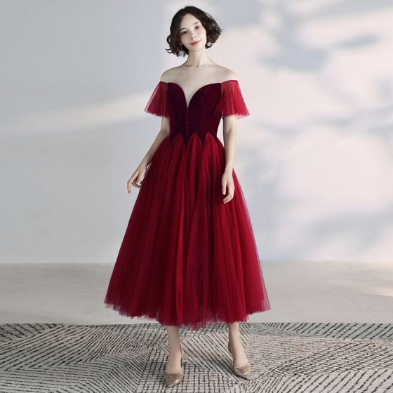 Chic / Beautiful Burgundy Prom Dresses 2019 A-Line / Princess Suede Scoop Neck Short Sleeve Backless Tea-length Formal Dresses