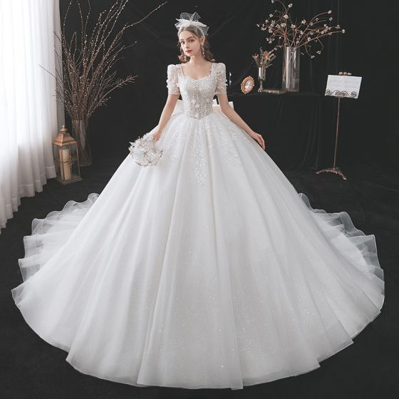 Chic / Beautiful White Wedding Dresses 2021 Ball Gown Square Neckline Beading Bow Pearl Appliques Sequins Short Sleeve Backless Cathedral Train Wedding