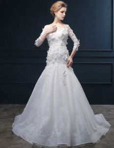 2015 Trumpet /Mermaid Handmade Lace Flower Square Neckline Wedding Dresses