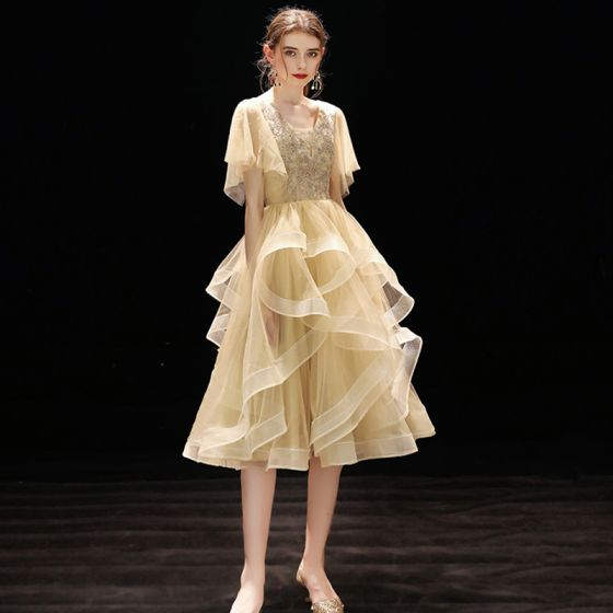 Chic / Beautiful Champagne Homecoming Graduation Dresses 2019 A-Line / Princess V-Neck Short Sleeve Beading Tea-length Cascading Ruffles Backless Formal Dresses