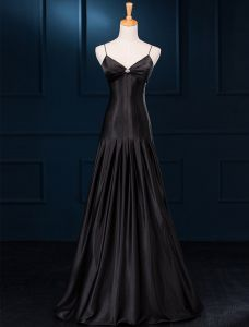 Simple A-line Spaghetti Straps Ruffles Black Satin Evening Dress