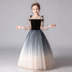Romantyczny Czarne Gradient-Kolorów Sukienki Dla Dziewczynek 2019 Princessa Przy Ramieniu Bufiasta 3/4 Rękawy Cekiny Cekinami Tiulowe Długie Wzburzyć Bez Pleców Sukienki Na Wesele