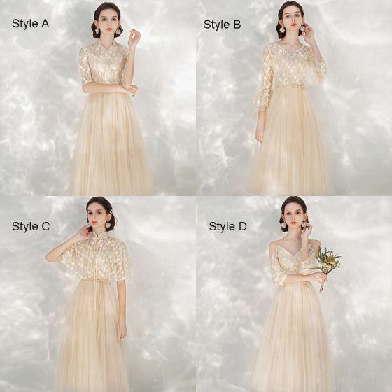 Affordable Champagne Bridesmaid Dresses 2021 A-Line / Princess Backless Appliques Lace Sash Tea-length Ruffle