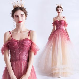 Charming Red Gradient-Color Evening Dresses  2020 A-Line / Princess Spaghetti Straps Glitter Star Short Sleeve Backless Floor-Length / Long Formal Dresses