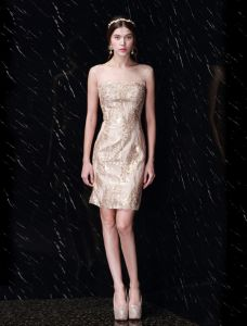 Robe Courte Partie Belle Paillettes D'or Robe De Cocktail Dos Nu