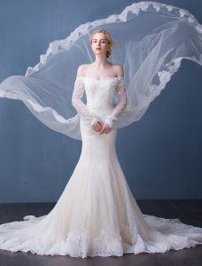 Elegante Brautkleider 2016 Nixe Der Schulter Quaste Ausschnitt Champagner Spitze Brautkleid Mit Langen Ärmeln Aus