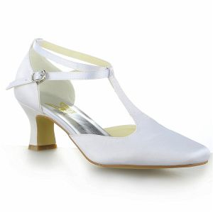 Simple Pointed Toe T-strap Mid Heels White Satin Sandals Bridal Wedding Shoes
